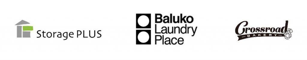 Baluko Laundry Placeロゴ、ストレージプラスロゴ、クロスロードベーカリーロゴ
